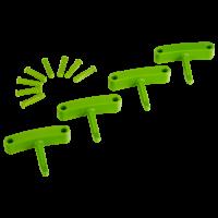 Vikan Hygiene 1016-77 Aanvulset haken limoen full colour 4 haken/8 pinnen