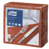 Tork tissue servet 39x39cm 2-laags 1/4-vouw terracotta 12x150