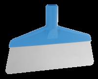 Vikan Hygiene 29113 vloerschraper blauw afgerond flexibel rvs blad 260mm
