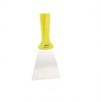 Vikan handschraper/schroefdraad 4011-6 geel breed rvs blad 100x205mm